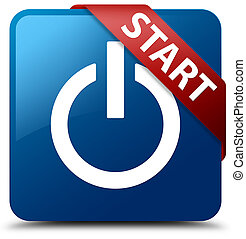 Start (power icon) blue square button red ribbon in corner