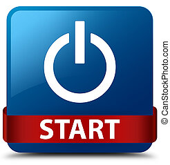 Start (power icon) blue square button red ribbon in middle