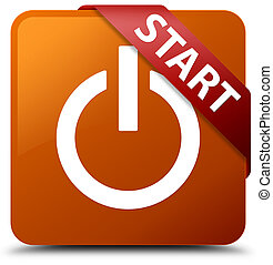 Start (power icon) brown square button red ribbon in corner