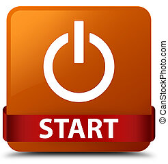 Start (power icon) brown square button red ribbon in middle