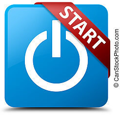 Start (power icon) cyan blue square button red ribbon in corner