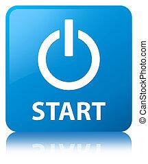 Start (power icon) cyan blue square button