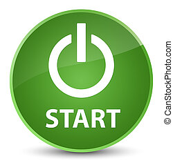 Start (power icon) elegant soft green round button