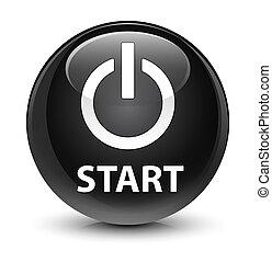 Start (power icon) glassy black round button