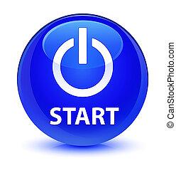 Start (power icon) glassy blue round button