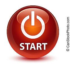Start (power icon) glassy brown round button