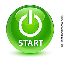 Start (power icon) glassy green round button