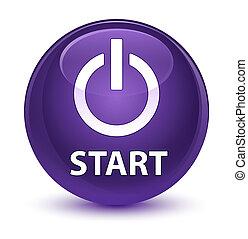Start (power icon) glassy purple round button