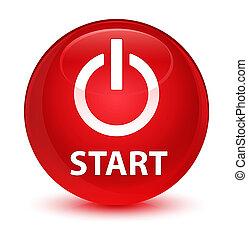 Start (power icon) glassy red round button