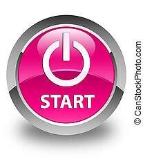 Start (power icon) glossy pink round button