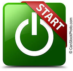 Start (power icon) green square button red ribbon in corner