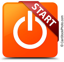 Start (power icon) orange square button red ribbon in corner
