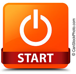 Start (power icon) orange square button red ribbon in middle