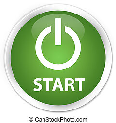 Start (power icon) premium soft green round button