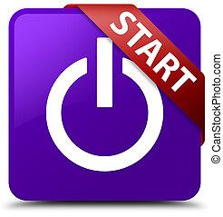 Start (power icon) purple square button red ribbon in corner