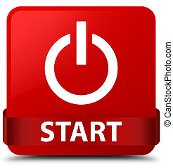 Start (power icon) red square button red ribbon in middle