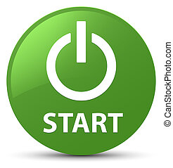 Start (power icon) soft green round button