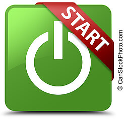 Start (power icon) soft green square button red ribbon in corner