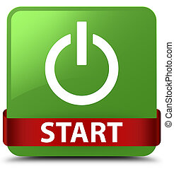 Start (power icon) soft green square button red ribbon in middle