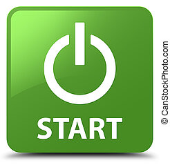 Start (power icon) soft green square button