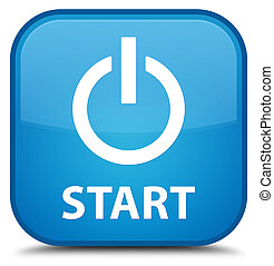 Start (power icon) special cyan blue square button
