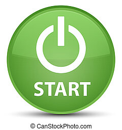 Start (power icon) special soft green round button