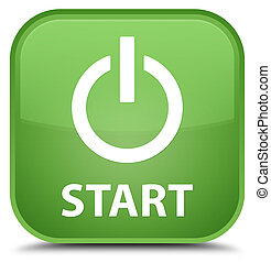 Start (power icon) special soft green square button