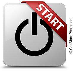 Start (power icon) white square button red ribbon in corner