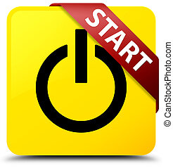 Start (power icon) yellow square button red ribbon in corner