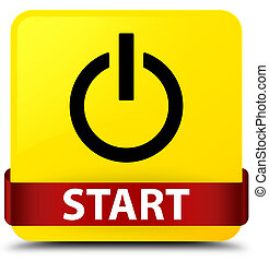 Start (power icon) yellow square button red ribbon in middle