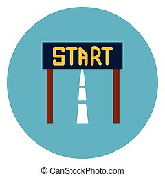 Start Race Icon Web Button On Round Blue Background