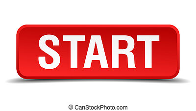 Start red 3d square button isolated on white