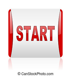 start red and white square web glossy icon