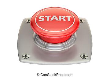 Start red button, 3D rendering