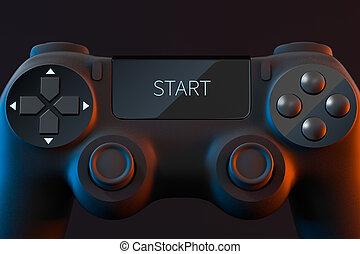 """start"", rendering., spiel, schirm, polster, 3d"