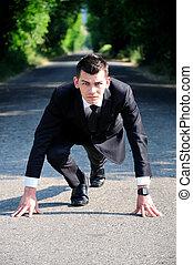 start, rennende , zakenmens