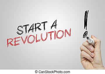 start, revolutie, hand het schrijven