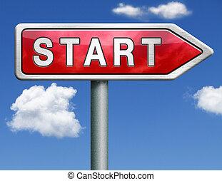 start road sign arrow