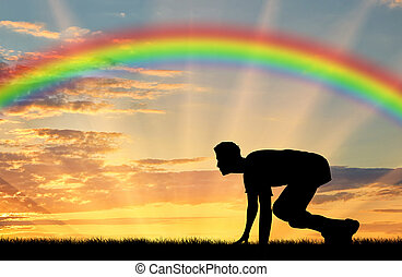 Start runner on rainbow background