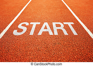 Start on athletics all weather running track