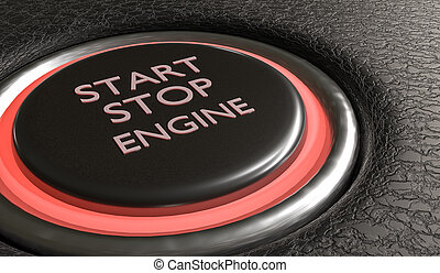 Start stop engine button in car interior. 3D rendered illustrati