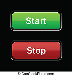 Start Stop glossy button on black background