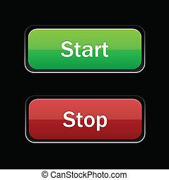 Start Stop glossy button on black background