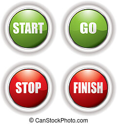 start, stoppen, knopen