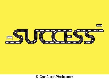 Start to finish, Success road on yellow background