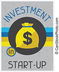 start-up., 平ら, ポスター, 投資, デザイン, レトロ, style.