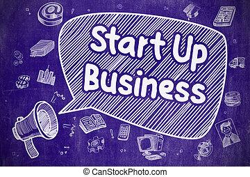Start Up Business - Cartoon Illustration on Blue Chalkboard.