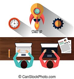 Start up business company graphic design, vector...