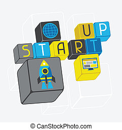 Start-up business concept in flat design style.