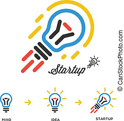 Start up business concept network, bulb-rocket - Start up ...
